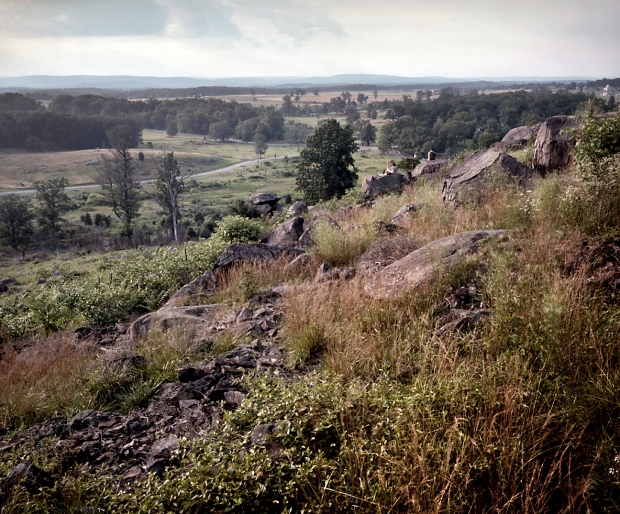The commanding view from the rocky summit of Little Round Top at Gettysburg, Pa. 2013