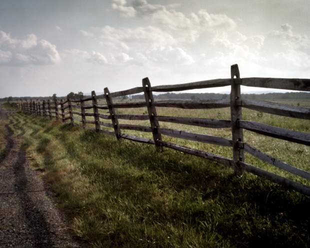 The fence along the Emmitsburg Road that Rebel forces found as a deadly obstacle in their quest for Cemetery Ridge. Gettysburg, Pa. 2013
