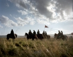 Union Cavalry arrives during a reenactment at Gettysburg. 2013