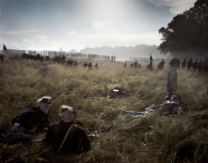 "Union reenactors are attacked and pushed back through the ""Wheat Field"". 2013"
