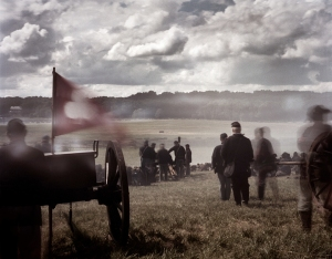 Union guns respond  to the Rebel cannonade during a reenactment of the Battle of Gettysburg. 2013