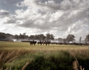 "Union troops take their positions in the ""Peach Orchard"" during a renactment in Gettysburg. 2013"