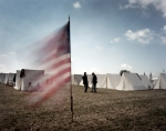 Union troops in camp during a reenactment of the Battle of Gettysburg, Pa. 2013.