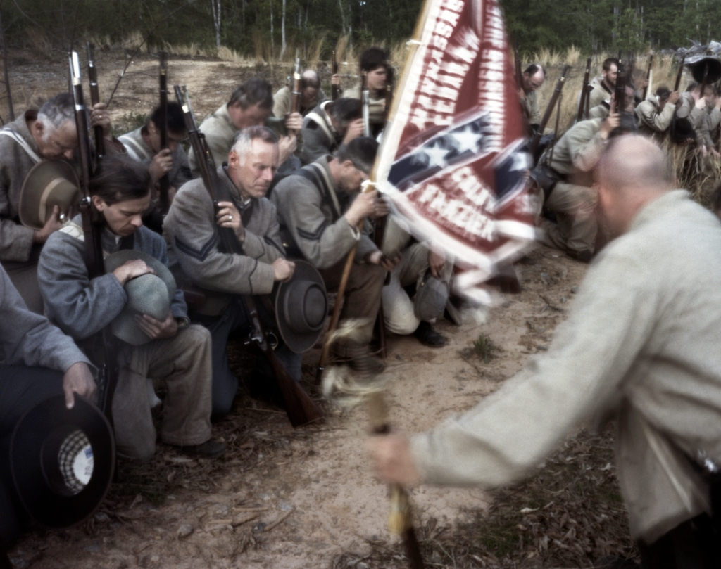 North Carolina troops kneel in prayer during a reenactment of the wounding of Stonewall Jackson, Spotsylvania County, Va 2013.