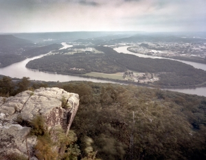 The view from Lookout Mountain of Moccasin Point and the City of Chattanooga, Tn. 2013
