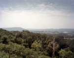 The wooded slope of Missionary Ridge with a view toward Lookout Mt. and Chattanooga. 2013