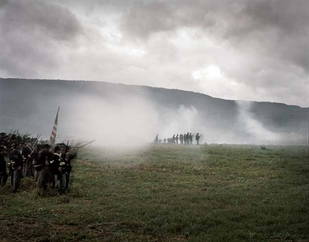 Gun smoke fills McLemore's Cove during a reenactment of the Battle of Chickamauga, Ga. 2013