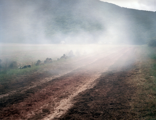"Union troops protect the ""Lafayette Road"" during a reenactment of the Battle of Chickamauga, Ga 2013."