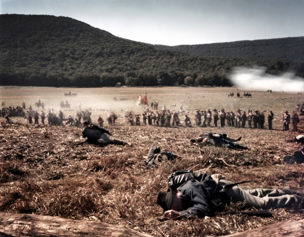 "Confederate troops attack ""Snodgrass Hill"" in a reenactment of the Battle of Chickamauga, Ga 2013"
