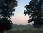 The moon dips as dawn approaches on the Battlefield at Chickamauga, Ga 2013