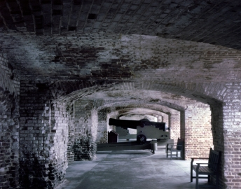The scarred interior of the First Tier Casemate at Fort Sumter, SC 2013