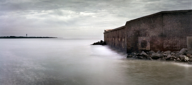 One story of old Fort Sumter remains after the bombardments of the Civil War