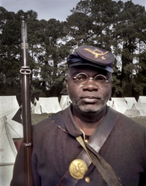 Joe McGill as a soldier of the 54th Massachusetts at Boone Hall Plantation