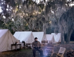 Musician Stan Clardy in camp at Boone Hall Plantation, SC 2013