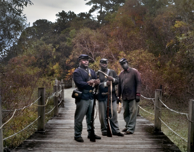 Reenactors in the impression of the 54th Massachusetts regiment, Boone Hall Plantation, SC 2013