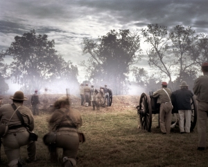"Confederate reenactors defend ""Fort Wagner"" at Boone Hall Plantation, SC"