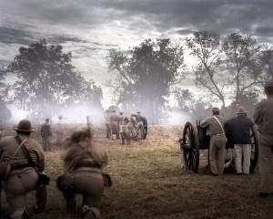 """Confederate reenactors defend """"Fort Wagner"""" at Boone Hall Plantation, SC"""