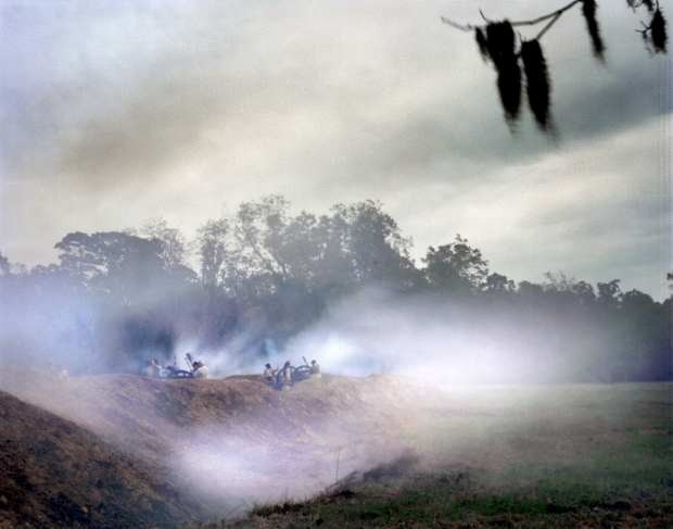 Cannon smoke fills the moat and parapet of Fort Wagner during a reenactment at Boone Plantation, SC 2013