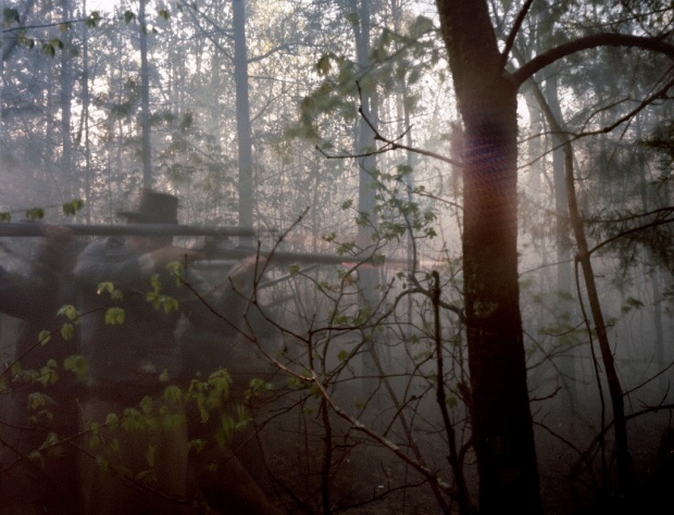 Reenactors in the dense forests of Mosley Virginia, 2014