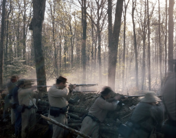 Confederates defend trenches in Mosley, Virginia 2014