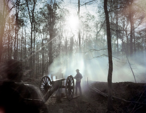 Confederate cannoneers during a reenactment in Mosley, Va 2014