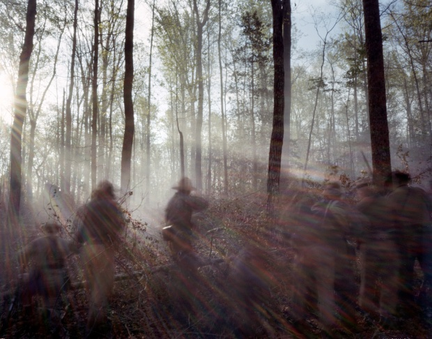 The battle rages during a reenactment in Mosley, Virginia 2014