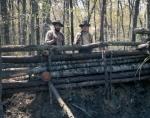 Reenactors construct Civil War era earthworks in Mosley, Virginia 2014