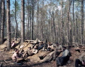Reenactors in their Civil War style trenches in Moseley, Va 2014