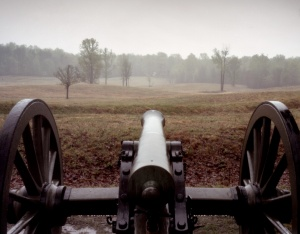 Lone Confederate gun looking across trenches and the Union approach to the Bloody Angle at Spotsylvania 2014