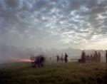 Cannons fire as the sun  rises in Spotsylvania County, Virginia 2014