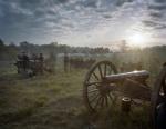 The sun rises during a battle reenactment in Spotsylvania County Virginia 2014
