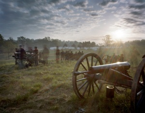 The sun rises during a battle reenactment in Spotsylvania County Virginia 2014