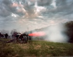 Cannons fire in a reenactment at Spotsylvania Courthouse Virginia 2014