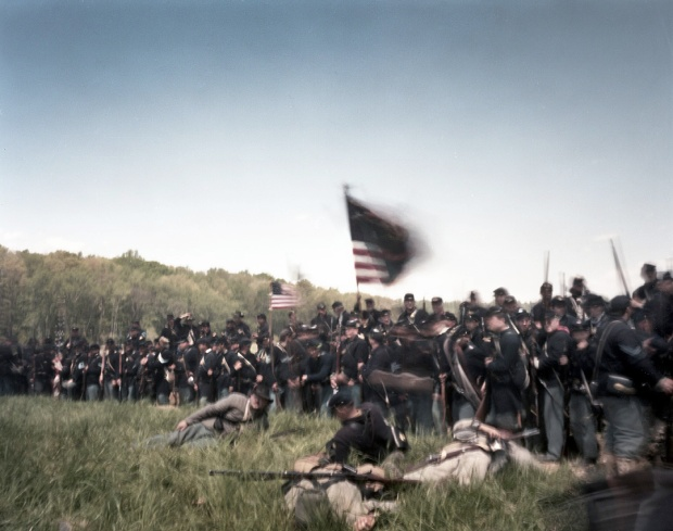 Union troops surge forward in a reenactment of the Battle of Spotsylvania Courthouse - 2014