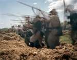 Confederates fire from trenches in a reenactment of the Battle of Spotsylvania Courthouse 2014