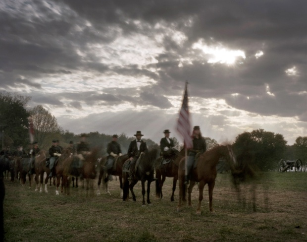 Union reenactors on the march in Spotsylvania County, Va 2014