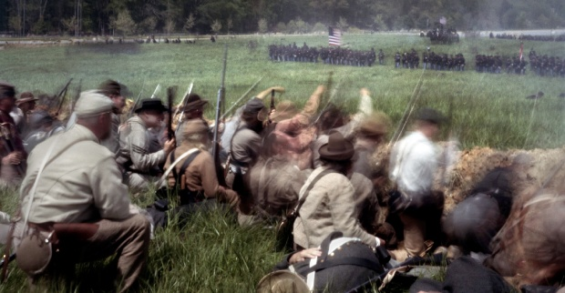 Confederate reenactors defend trenches against a Union assault at Spotsylvania Courthouse 2014