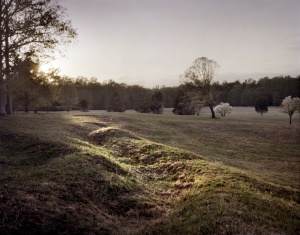 Late day light illuminates a section of the Confederate trench at the Bloody Angle