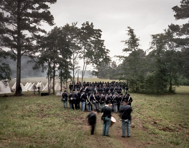 Union reenactors enter the fray at Resaca, Ga 2014
