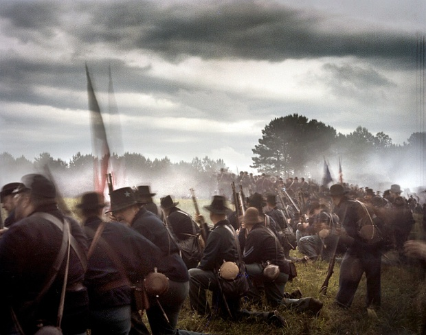 Union troops during the 150th anniversary reenactment of the at Resaca, Ga 2014
