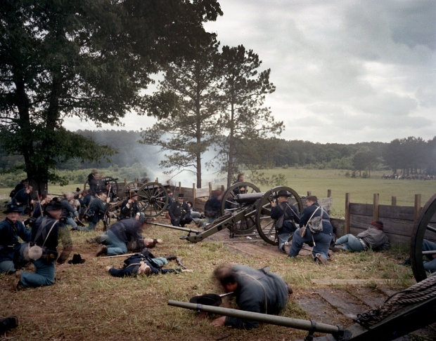 Union reenactors within the parapet of the Confederate gun battery at Resaca, Ga 2014