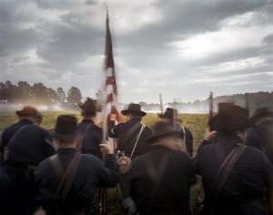 Union reenactors pause before entering the fray at Resaca, Ga 2014
