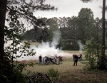 Cannons fire during the Reenactment at Resaca, Ga 2014