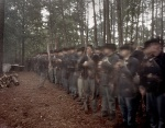 Union reenactors form up in the forest on the Battlefield of Resaca, Ga 2014