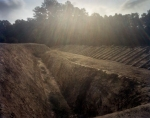 Reconstructed Civil War earthworks at Pamplin Historical Park on the western front battlefield at Petersburg, Va 2014