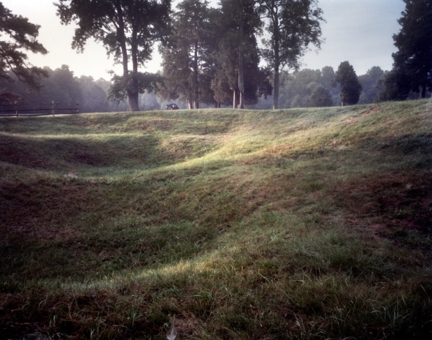The remains of the Crater explosion at Elliott's Salient at Petersburg National Battlefield.