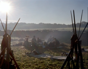 Confederate reenactors in their earthworks in Henrico, Va