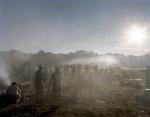 Reenactors bivouac in their earthworks in Henrico, Va 2014