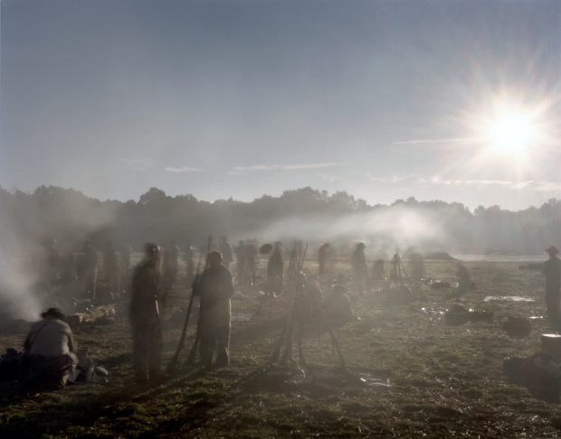 Reenactors bivouac in their earthworks in Henrico, Va 2014