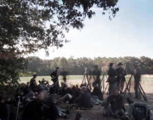 Union reenactors rest in the shade in Henrico, Va 2014
